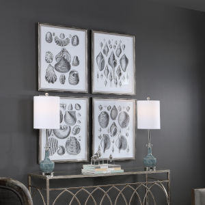 Marine White and Black Study Framed Print, Set of 4