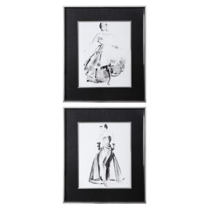 Vintage Costume Black and White Sketch Framed Prints, Set of 2