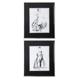 Vintage Costume Black and White Sketch Framed Prints, Set of 2