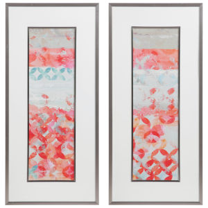 Valentine White Matting, Teal, Blue, Red, Orange, Green and Tan Framed Abstract Prints, Set of 2