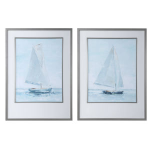 Seafaring White Matting, Blue, Gray, White and Brown Framed Prints, Set of 2