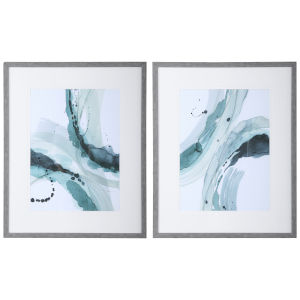 Depth Teal, Light Green and Aqua Abstract Watercolor Prints, Set of 2