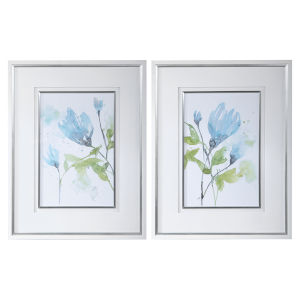Cerulean Splash Matte White and Bright Silver Floral Prints, Set of 2