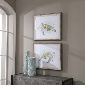 Sea Turtle Study White Watercolor Prints, Set of 2