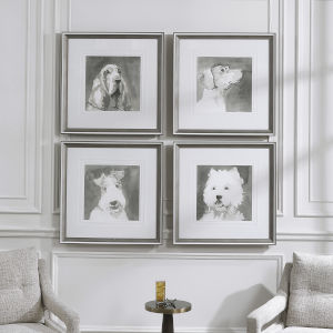 Modern Dogs Taupe and White Framed Prints, Set of 4