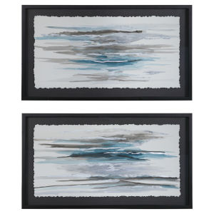 Washed Away Blue, White, Gray, Brown Prints, Set of 2
