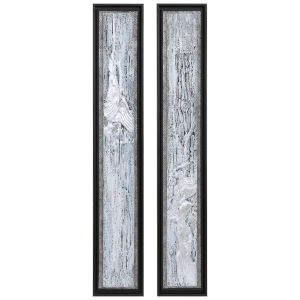 Silver Lining Silver Leaf and Gray Textured Abstract Art, Set of 2