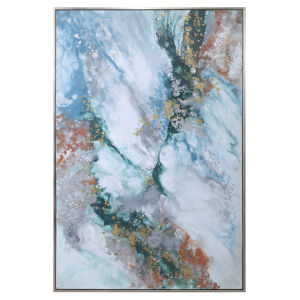 Mercury Hand White, Teal, Burnt Orange and Gold Leaf Abstract Art