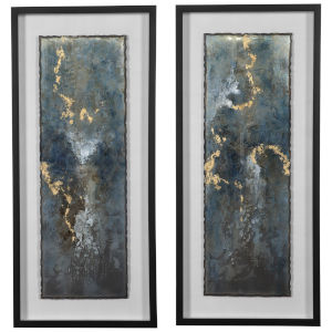 Glimmering Agate Multicolor Abstract Print, Set of 2