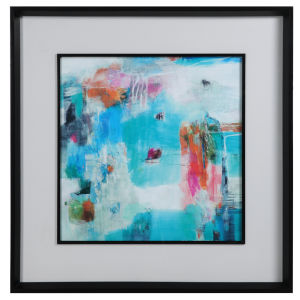 The Last Train Blue, Green, White, Gray, Orange and Pink Abstract Art