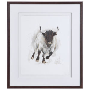 Rustic Bull White, Brown, Tan and Gray Framed Animal Print