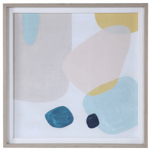 Pink Pebbles II Blue, Taupe, Yellow and Pink Framed Print