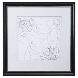 Delicate Lines Black and White Floral Print