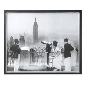 Manhattan View Matte Black with Silver Leaf Vintage Print