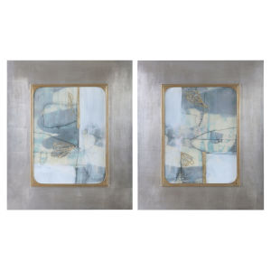 Gilded Whimsy Light Blue, Gray, Taupe and Gold Leaf Abstract Prints, Set of 2