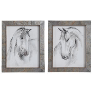 Equestrian Watercolor White, Gray, and Taupe Framed Prints, Set of 2