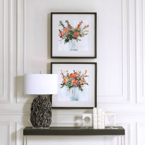 Fresh Flowers Charcoal Watercolor Prints, Set of 2