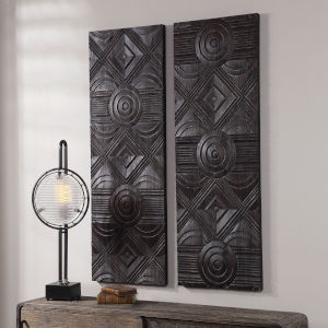 Asuka Dark Walnut Carved Wood Wall Panel, Set of 2