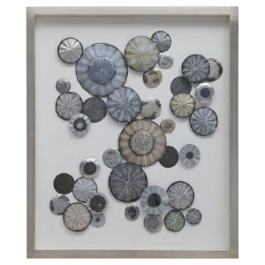 Omala Silver, Charcoal, Rust, Blue and Green Abstract Shadow Box