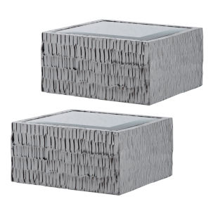 Jessamine Metallic Silver Wall Shelves, Set of 2