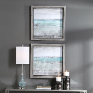 Aqua Sea Foam Green Horizon Framed Print, Set of 2