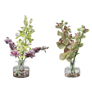 Malin Green, Purple and Clear Vases, Set of 2