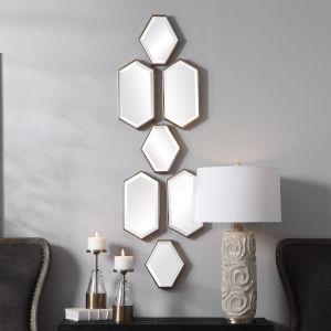 Sarita Aged Bronze Mirror, Set of 7