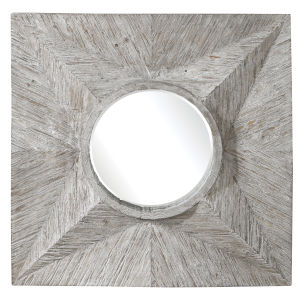 Huntington Gray and White Square Mirror