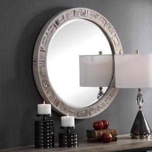 Del Mar Solid Wood Round Mirror