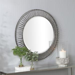 Schwartz Aged Silver Round Mirror