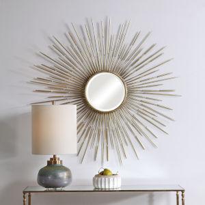 Golden Antiqued Gold Leaf Rays Starburst Mirror
