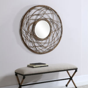 Samudra  Brown Round Rattan Mirror
