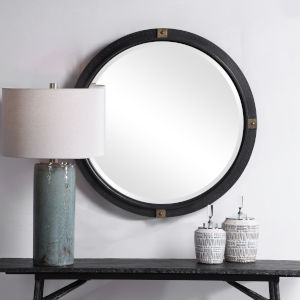 Tull Antique Brass Industrial Round Mirror