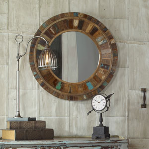 Jeremiah Reclaimed Wood 32-Inch Round Mirror