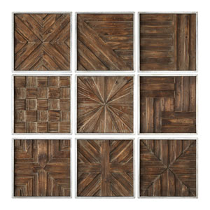 Bryndle Rustic Wooden Squares, Set of Nine
