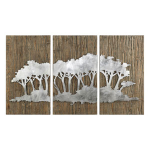 Safari Views Silver Wall Art, Set of Three