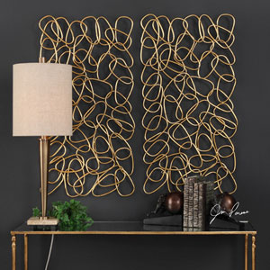 In the Loop Gold Wall Art, Set of Two