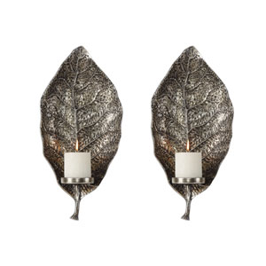 Zelkova Leaf Wall Sconces, Set of Two