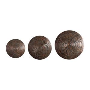 Hanneli Ribbed Bronze Circles, Set of Three