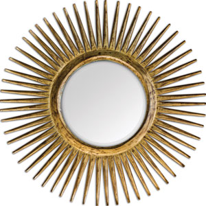 Destello Carved Teak Wood with Gold Leaf Gold Starburst Mirror