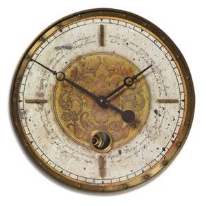 Leonardo Script Brass Clock