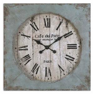 Distressed Aged Blue Paron Clock