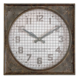 Warehouse Mottled Rust Brown Wall Clock