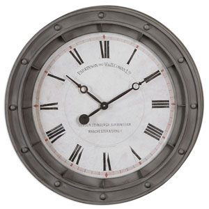 Porthole Rust Gray Wall Clock