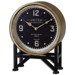 Shyam Brass and Aged Black 16-Inch Table Clock