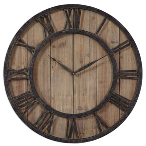 Powell Rustic Dark Bronze Wall Clock