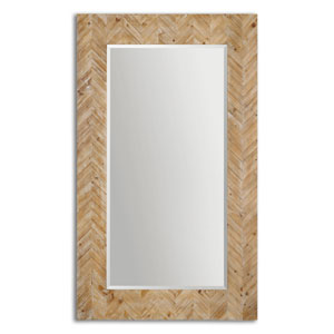 Demetria Solid Wood and Light Gray Oversized Mirror