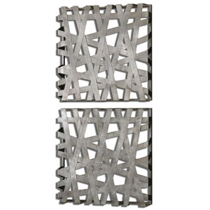 Alita Squares Bright Silver Leaf Alternative Wall Decor, Set of 2