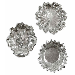 Silver Flowers Metal Wall Art, Set of Three