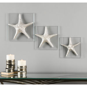 Silver Starfish by David Frisch: 14.5 x 14.5-Inch Wall Art, Set of Three